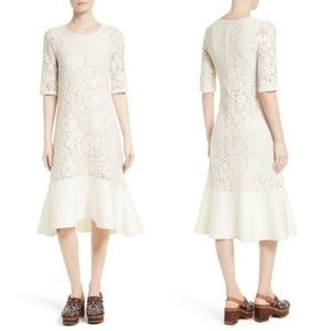 See By Chloe Dresses - See by Chloe Floral Crochet Peplum White Dress